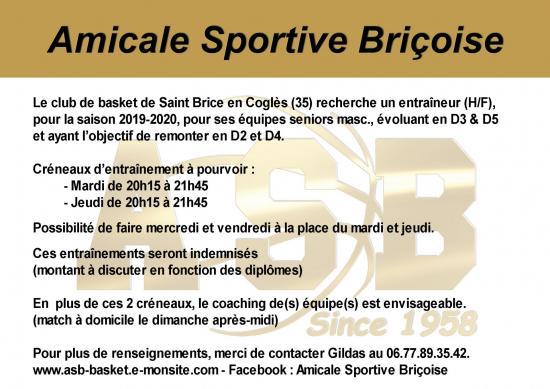 Entraineur saint brice en cogles 2019 20